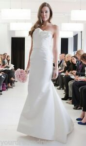 AUTHENTIC-Angel-Sanchez-N9001-Off-White-Silk-Strapless-Couture-Bridal-Gown-NEW