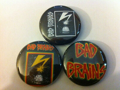"Bad Brains lot of 3 1"" pins buttons punk hardcore minor threat nofx banned in DC"