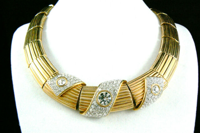 Swarovski Gold Plate Clear Crystal rhinestones Necklace Signed Authentic $0 Ship