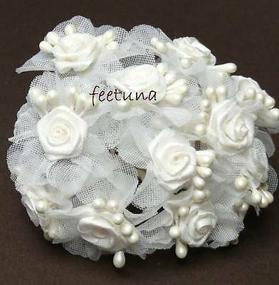 12 creme Diorröschen Perlen Organza weißer Stiel 2,5 cm Stoffröschen