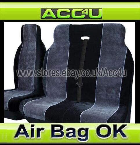 Luxury Grey Black Fabric Alpha Van Single Double Seat Covers Set