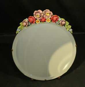 LARGE-1930s-ENGLISH-CABBAGE-ROSE-BARBOLA-DRESSING-MIRROR-w-EASEL-BACK