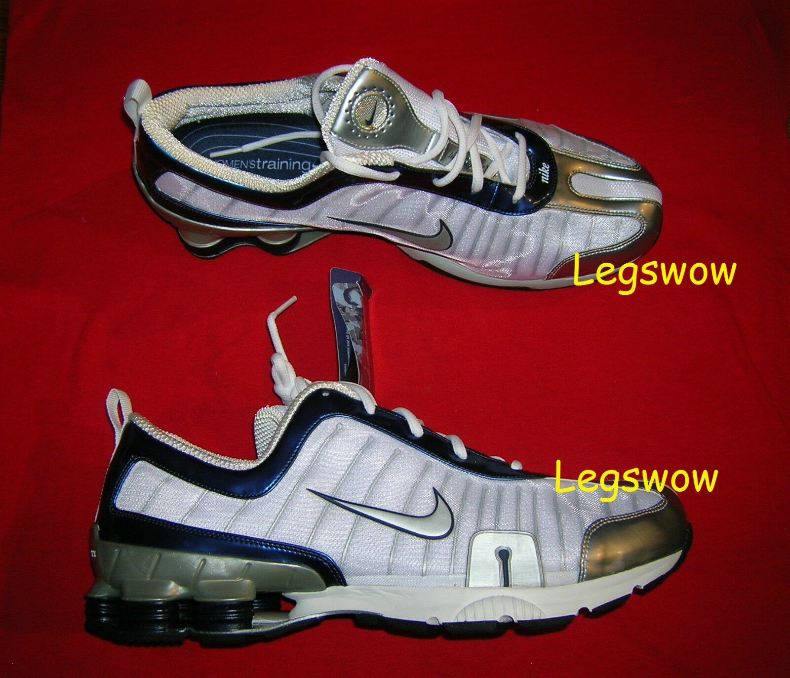 Nike Shox Legend Trainer Running shoes Sneakers Womens 15 White bluee New Ipod