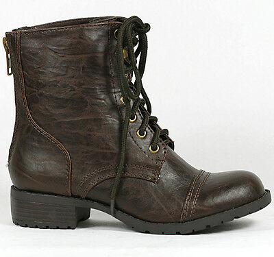 Brown Lace Up Military Combat Ankle Bootie Boot 7 us Soda Sign-s