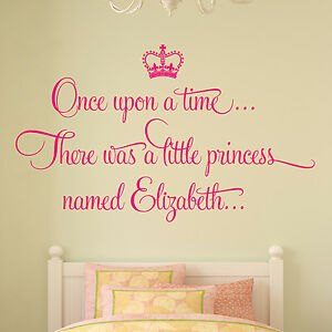 Personalised Once Upon A Time Princess Wall Sticker Decal