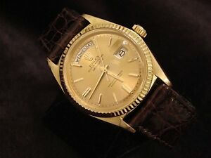 MENS-18K-GOLD-ROLEX-DAY-DATE-PRESIDENT-WATCH-w-LEATHER