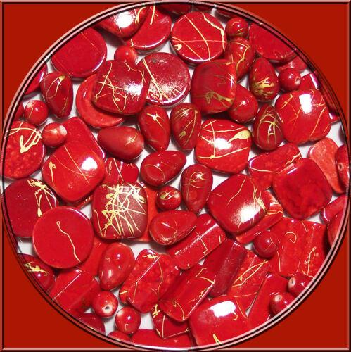 30 edelacryl fancy Set weinrot mit Goldfäden 10-18 mm Tropfen Quadrate Kugeln