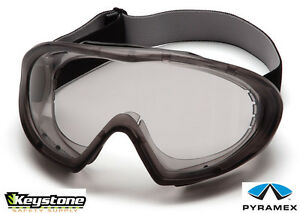 Pyramex-Safety-Capstone-Goggles-Gray-Frame-Clear-Anti-Fog-Lens-Glasses-GG504T