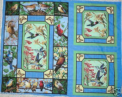 BIRD FABRIC 2 PILLOW PANEL & QUILT TOP WALLHANG BACKYARD BIRDS AND FLOWERS  NEW