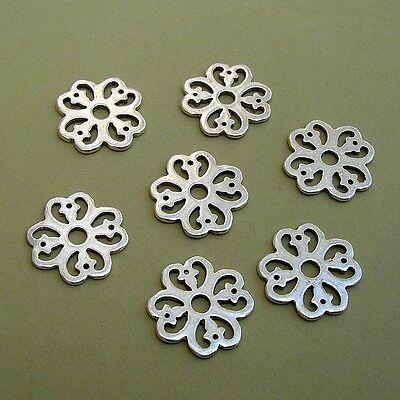 20pcs-Pendant, Charm Connector Flower Antique Silver Alloy 15mm.