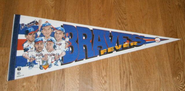 1990's Atlanta Braves pennant FEVER Dave Justice Ron Gant Deion Sanders Pndleton