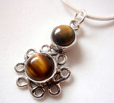 Tiger Eye Infinity 925 Sterling Silver Necklace Symbolizes Forever Love New