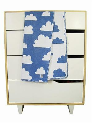 FARG & FORM Baby Pram Cot Crib Girls Boys Blanket Vtg/Retro Cloud Blanket - BLUE