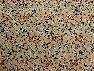 ST D21 BLUE RED FLOWER FLORAL DESIGN TAPESTRY CURTAIN BLINDS CUSHION FABRIC