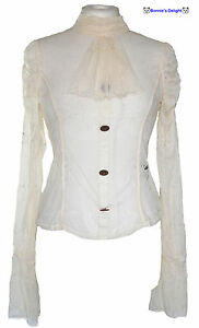 NEW-JAWBREAKER-CREAM-VICTORIAN-STEAMPUNK-GOTHIC-HIGH-NECK-SHIRT-10-16