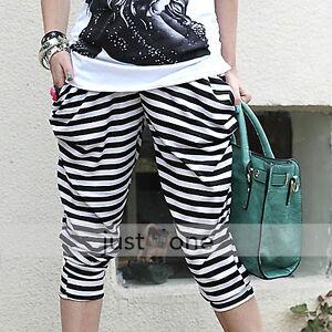 White-Black-Stripe-Baggy-Harem-Pants-Loose-3-4-Trousers