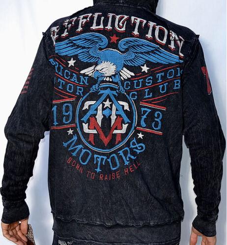 Affliction American Customs MC EAGLE Zip Hoodie Sweatshirt - NEW A5264 - Black