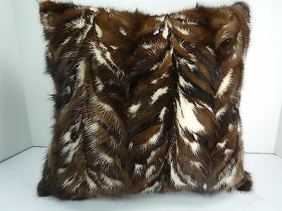 Real Genuine Mink Fur Sections Pillow New made in usa Authentic fur cushion