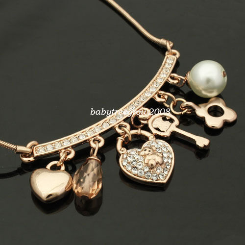 18K Rose Gold GP Swarovski Crystal Dangle Heart Key Pearl Fashion Necklace P243