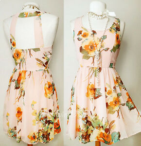 NEW-Forever-21-Pink-Azure-Watercolor-Floral-Open-Cutout-Back-CUTE-Chiffon-Dress