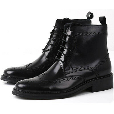 GENUINE Leather Men oxford Brogue Wingtip lace up Boots Leather military Shoes