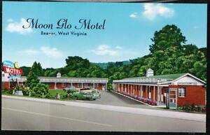 BEAVER-LAKE-WV-Moon-Glo-Motel-Vtg-Beckley-W-VA-Postcard-Old-West-Virginia-PC