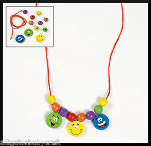 Smiley happy face charm necklace craft kit for kids for Necklace crafts for kids