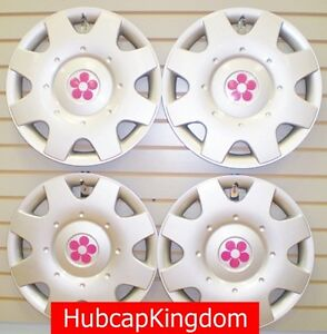 1998-2015-VW-BEETLE-16-PINK-DAISY-FLOWER-Hubcaps-Wheelcovers-SET