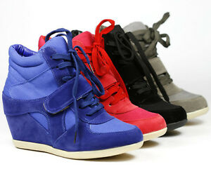 HIGH-TOP-FASHION-HIDDEN-WEDGE-SNEAKERS-TRAINER-ANKLE-BOOT-BOOTIE