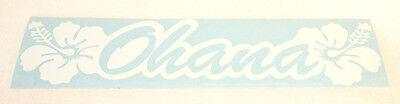 "6"" WHITE OHANA HIBISCUS HAWAIIAN FAMILY ~ Vinyl Car Truck Window Decal Sticker"
