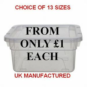 NEW-BRITISH-MADE-Clear-Plastic-Storage-Box-Boxes-With-Lids-Choice-Of-13-Sizes