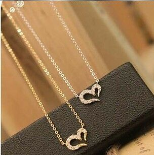 wholesale price cute fashion rhinestone wishing love necklace 2 colors new to