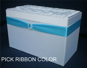 WHITE-Satin-Custom-Ribbon-Color-Wedding-Gift-Card-Box-Wishing-Well-Box-Chest