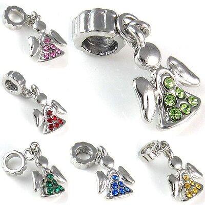Angel Silver Cubic Zirconia Dangle European Charm Bead For Bracelet Necklace