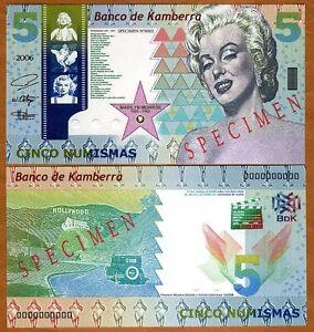 SPECIMEN-Kamberra-Kingdom-5-Numismas-2006-UNC-Marilyn-Monroe