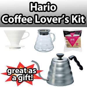Hario-Coffee-Lover-039-s-Set-V60-Buono-Kettle-Ceramic-Filter-Glass-Server-Pour-Drip