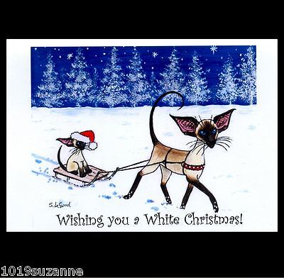 6 PACK  SIAMESE CAT & KITTEN IN SNOW ON SLEDGE CHRISTMAS CARDS SUZANNE LE GOOD