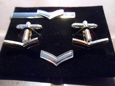 Lance Corporal Cufflink,  lapel pin +tie slide set, Army, RAF, Navy, Cpl's mess