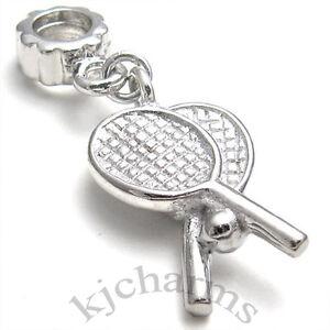 Tennis-Rackets-Silver-Dangle-European-Charm-Bead-For-Bracelet-Necklace-EB530