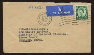 GB AIRMAIL to BURMA...1955 WILDING 1/3 SOLO FRANKING