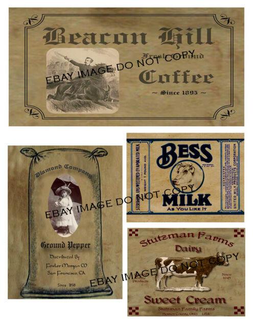 Primitive Jar Box Pantry Labels FH377:  Coffee, Pepper, Bess Milk, Sweet Cream