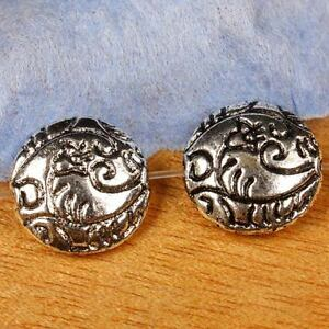 12PCS-Tibetan-Tibet-Silver-12mm-Coin-Shape-Spacer-Charm-Beads-Metal-Findings