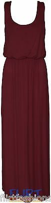 Womens Balloon Maxi Dress Ladies Sleeveles Racer Back Jersey Vest Long New