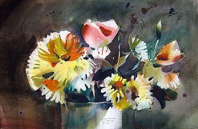 "REX BRANDT Signed 1969 Original Watercolor Painting - ""Casual Bouquet"""