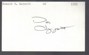 Don-Leppert-signed-3x5-index-card-Autographed-Senators-Pirates