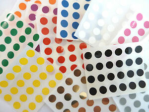 Image is loading 9mm-Round-Plastic-Vinyl-dot-Stickers-Small-Coloured-