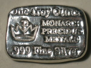 MONARCH-PRECIOUS-METALS-999-FINE-SILVER-POURED-INGOT-ONE-TROY-oz-BREADLOAF-BAR