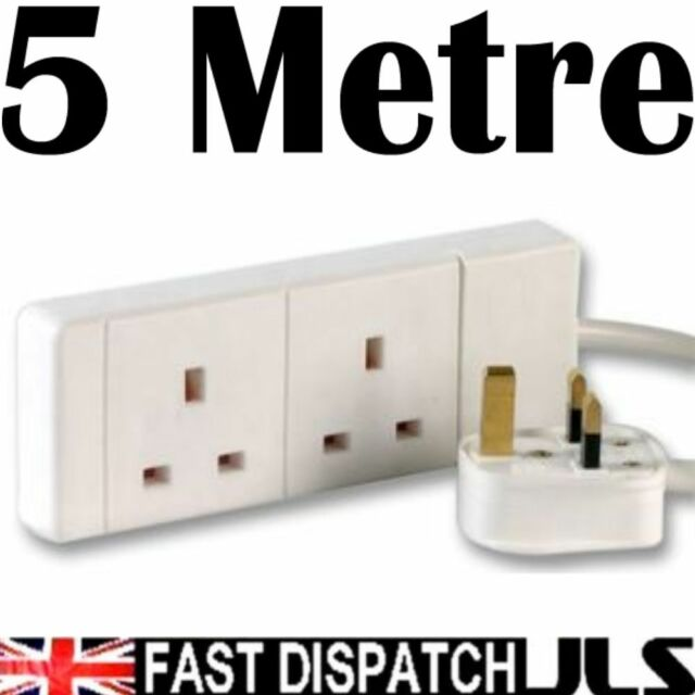 5 Metre Extension Socket 2 Gang Way Mains Lead Cable White 13A 5m Trailing Lead