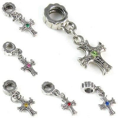 Cross Cubic Zirconia Silver Dangle European Charm Bead For Bracelet Necklace