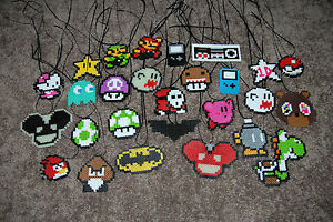 Classic-Vintage-Perler-Bead-Necklaces-Key-Chains-Rear-View-Mirror
